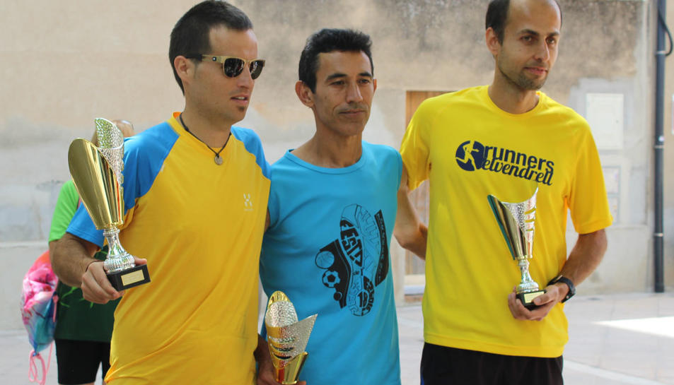Imatge dels tres primers classificats categoria masculina de la I Banyerenca Run.