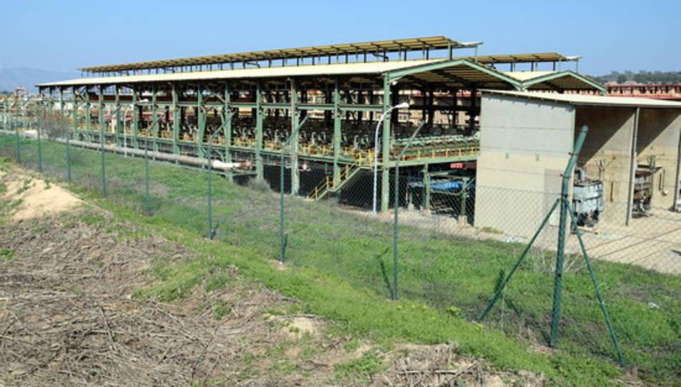 Pla general de la fàbrica de clor d'Ercros a Flix que tancarà al desembre d'aquest any. Imatge del 15 de març de 2017.