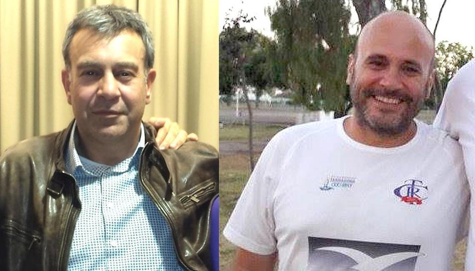 A l'esquerra Andrés Lechuga, qui encapçala la candidatura Sempre>endavant!. A la dreta Àlex Satué, qui encapçala la candidatura Temps de Rugby.