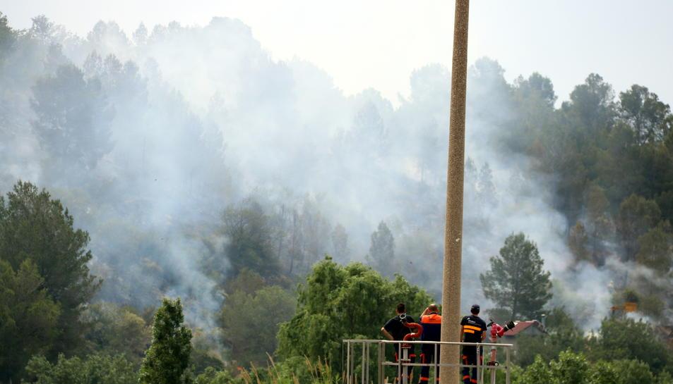 Pla tancat d'uns treballadors de la paperera d'Alcover, observant la fumera d'un incendi a Picamoixons (Alt Camp), el 30 de maig del 2017