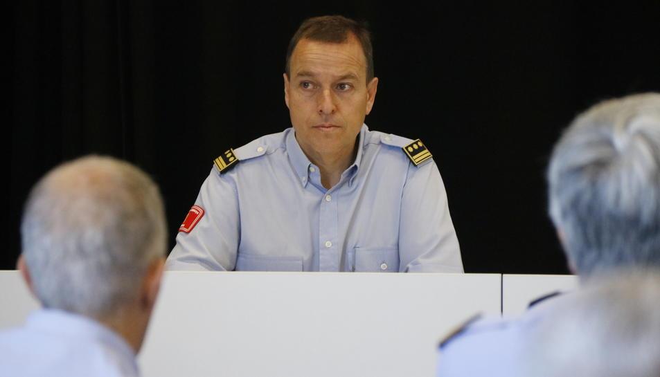 Pla mig del nou cap de la Regió d'Emergències de Tarragona, Albert Ventosa, durant la seva presentació als comandaments de Bombers a l'edifici 112 de Reus. Imatge de l'1 de juny del 2017