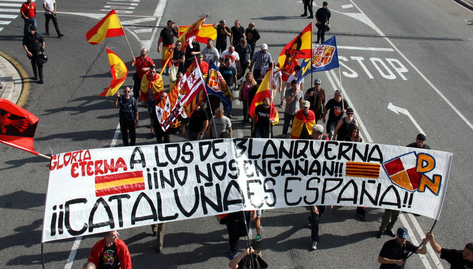 Imatge d'arxiu d'una pancarta en suport dels agressors del Centre Blanquerna a Madrid, que van irrompre a l'espai durant l'acte institucional de celebració de la Diada de Catalunya del 2013.