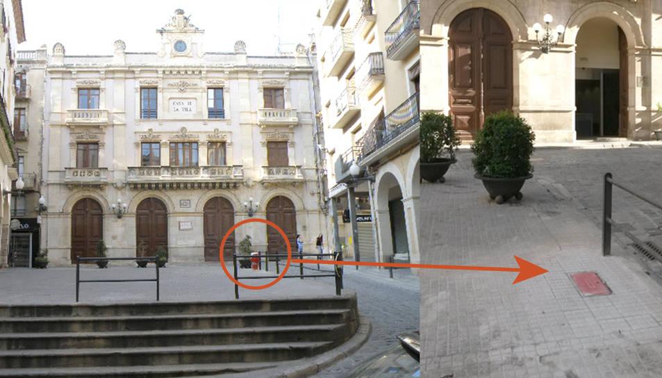 Imatge de la plaça amb l'antic hidrant i tal com ha quedat després de les obres.
