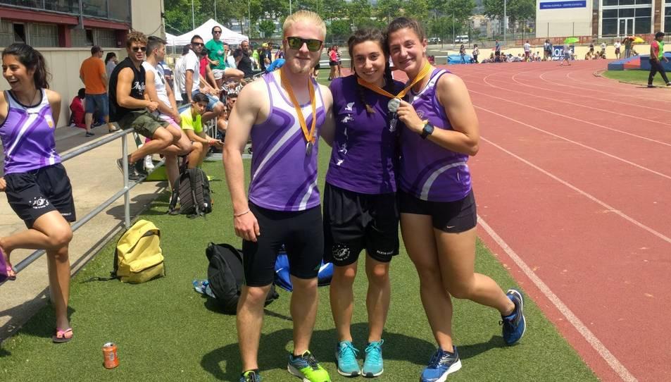 Dídac Alonso, Alícia Vázquez i Marina Tibau, subcampions de Catalunya en diferents proves.