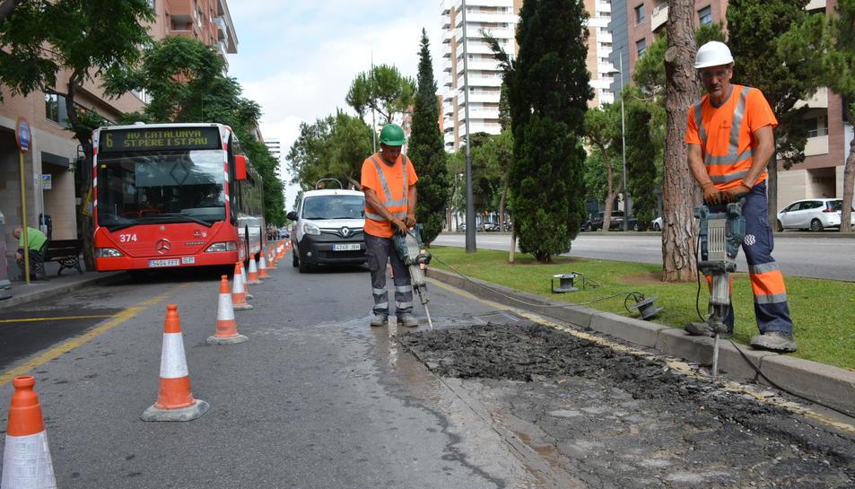 Imatge de les actuacions que s'estan realitzant al lateral de l'avinguda Roma aquest dijous 8 de juny.
