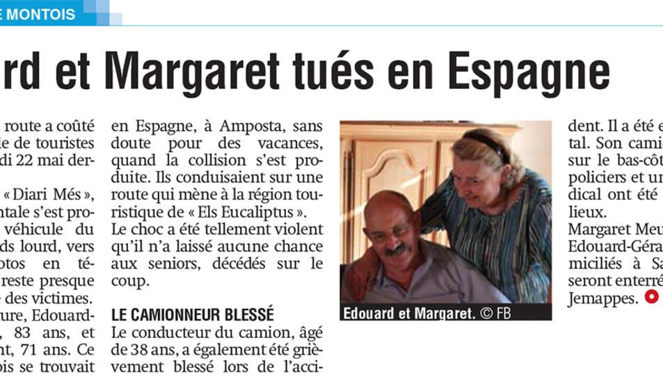 Imatge de l'article del rotatiu belga La Province, que ha desvetllat l'identitat del matrimoni mort en un accident a Amposta.