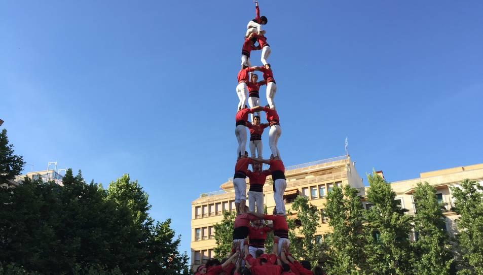 3de9f dels Castellers de Barcelona a la Diada del Pati.