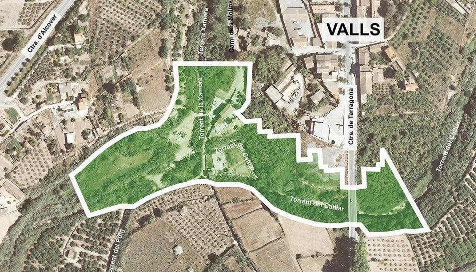 Àmbit d'actuació delsprojectes que ha contractat l'Ajuntament de Valls.