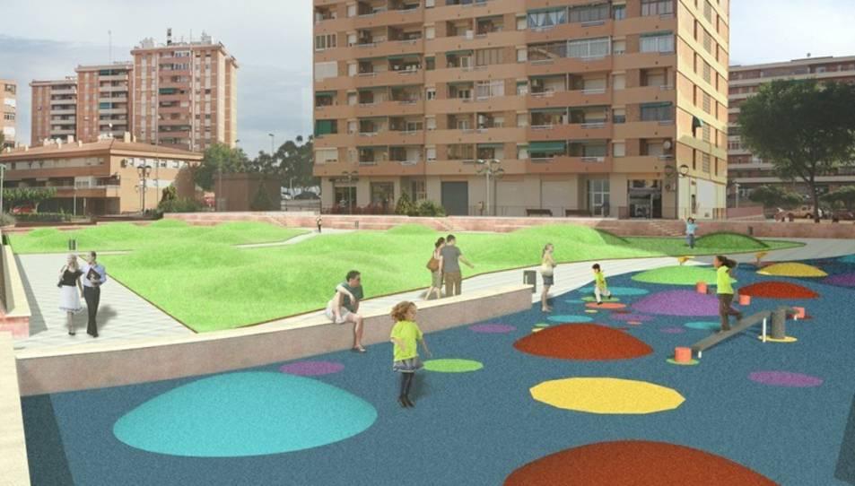 El projecte de remodelació de la plaça de la 5a Promoció pretén crear unes noves zones verdes sinuoses.