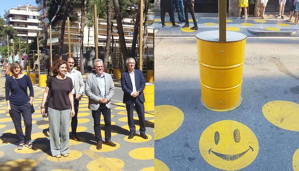 A l'esquerra, recent visita d'obres a la zona i a la dreta, una de les primeres 'emoticones' que han aparegut.