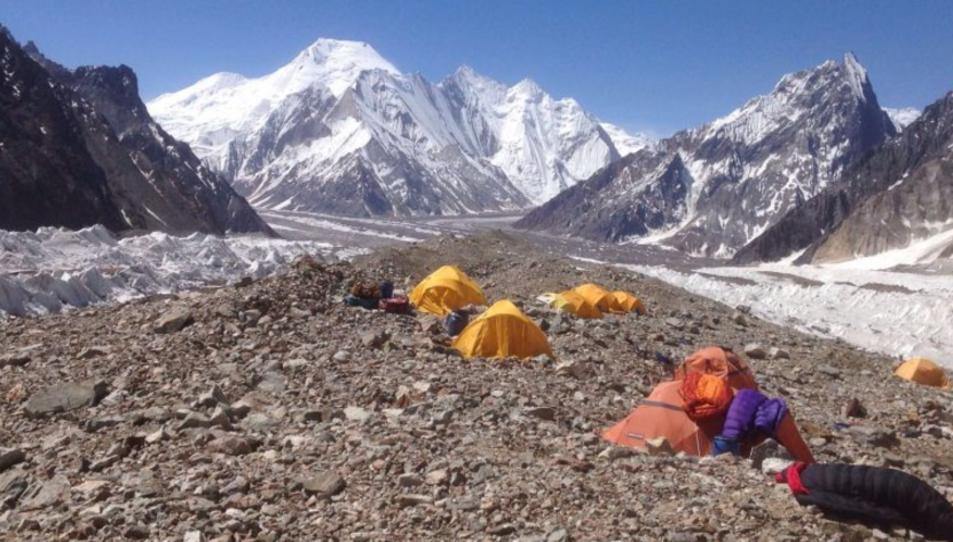 El campament base, a 4.900 metres d'alçada.