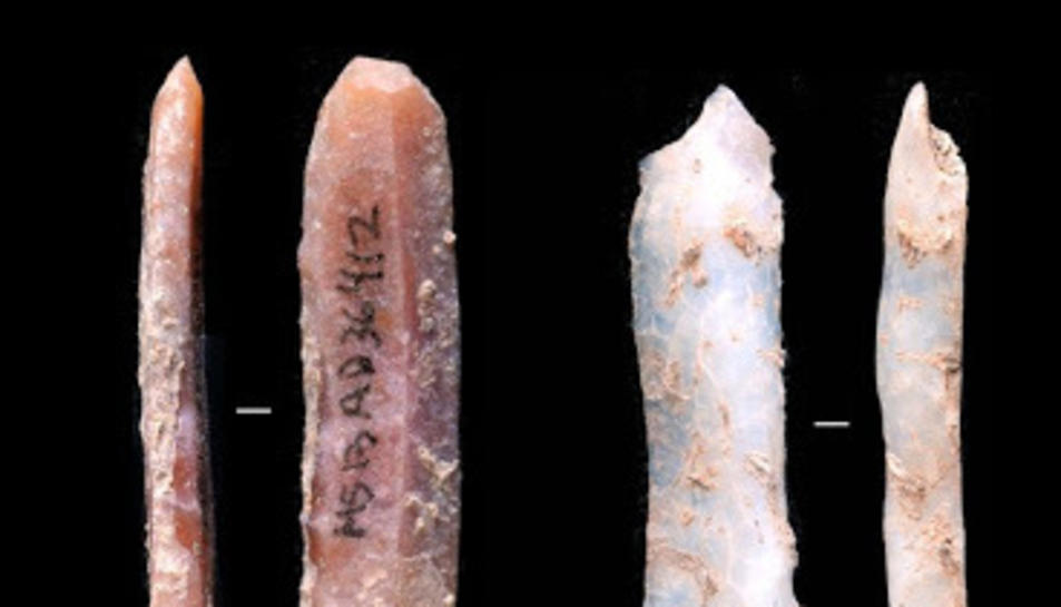 Puntes de projectil en sílex trobades al Molí del Salt.