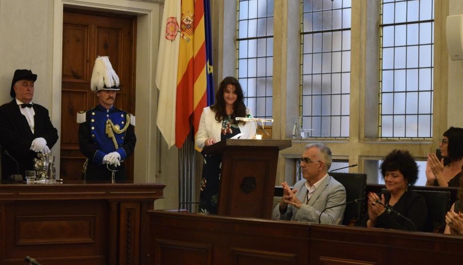 La periodista Montse Llussà durant el pregó.