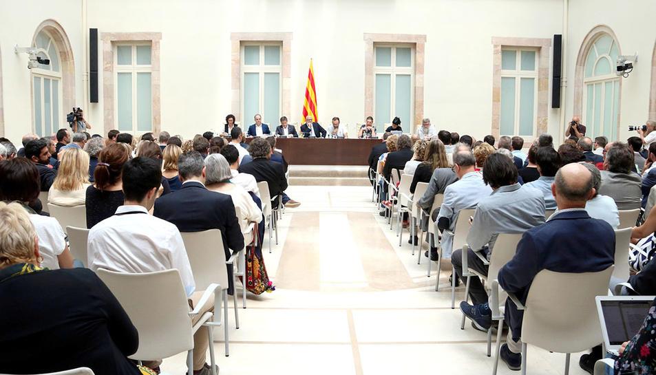 Acte de presentació de la llei del referèndum a l'auditori del Parlament el 4 de juliol del 2017.