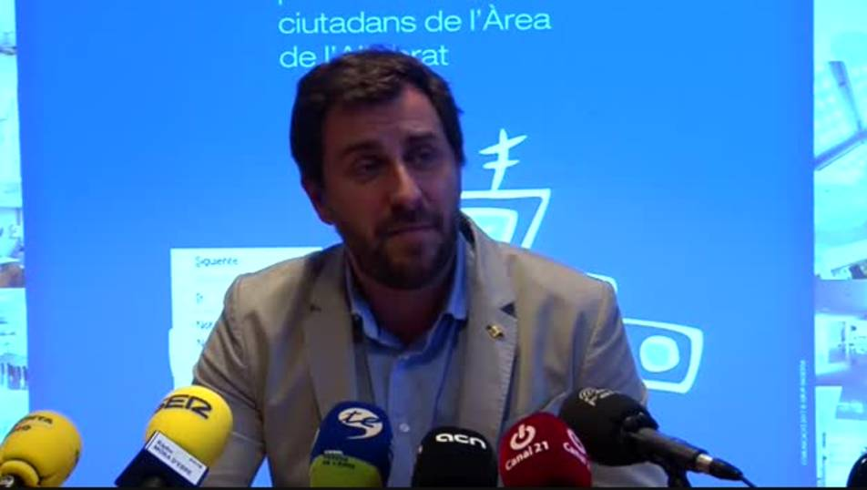 Antoni Comín durant la compareixença d'aquest dimecres a Móra d'Ebre.
