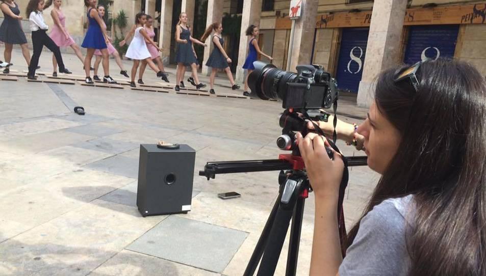 Un moment de l'enregistrament del lipdub, rodat en diversos espais cèntrics de la ciutat.