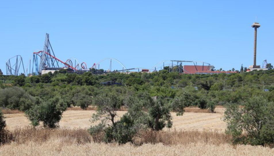 Camps agrícoles on està previst el Centre Recreatiu i Turístic (CRT) de Vila-seca i Salou i, al fons, muntanyes russes del parc d'atraccions PortAventura.