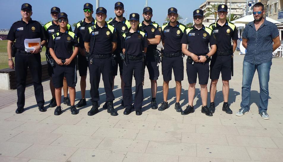 Tots els agents de la policia local vendrellenca que reforçaran l'activitat d'estiu.
