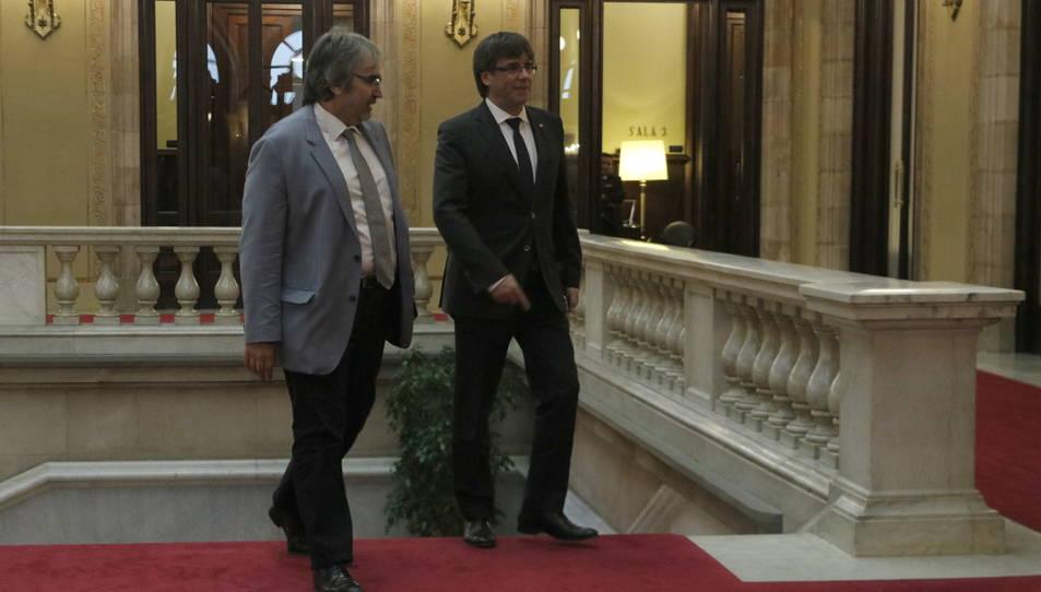 Imatge d'arxiu de Joaquim Nin amb el president Carles Puigdemont.