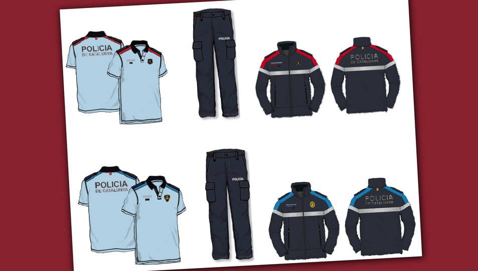 Els futurs uniformes dels Mossos d'Esquadra i de les policies locals de Catalunya.