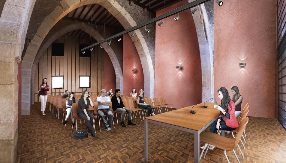 Imatge virtual de la sala d'actes que acollirà el futur Centre Cultural del Castell del Cambrer.