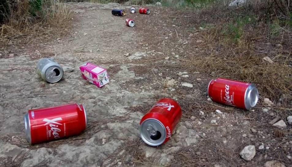Detall d'unes llaunes llençades a un camí de la zona verda ubicada a la vora de la Muntanyeta.