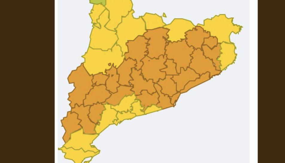 Mapa de la previsió de temperatures a Catalunya aquest divendres.