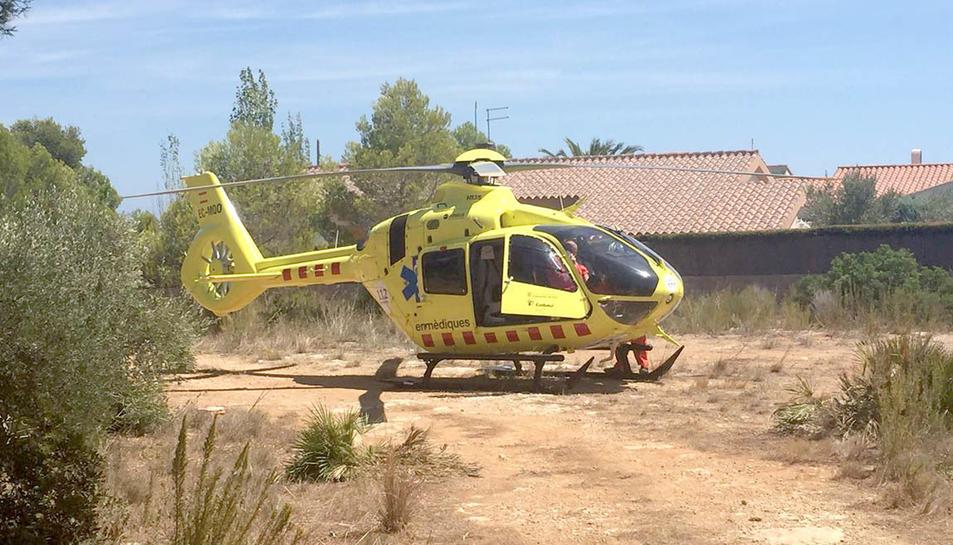 L'helicòpter del SEM que ha intervingut en l'ofegament.