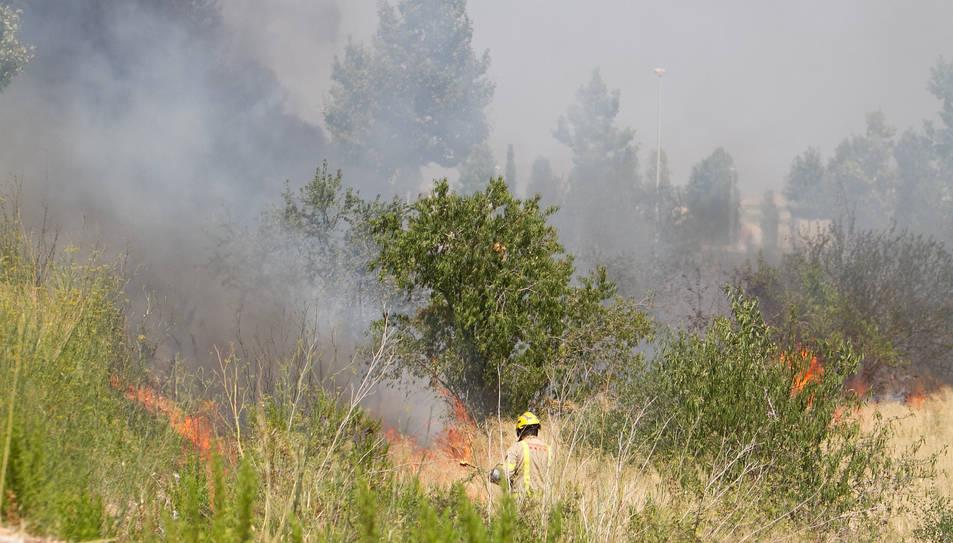 Un bomber al descampat del Tecnoparc.