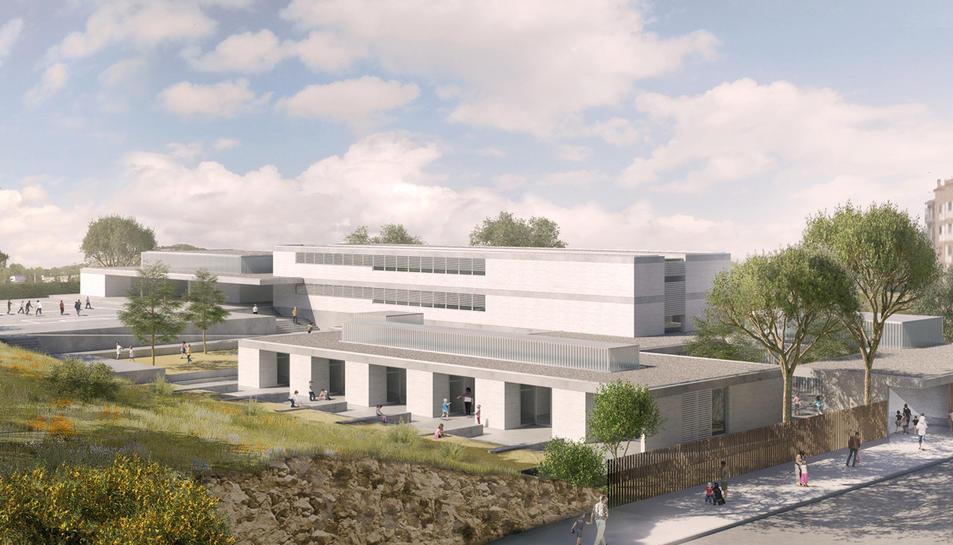Recreació del nou edifici de l''escola de l'Arrabassada, que ubicarà el seu accès principal al carrer Mercè Rodoreda.