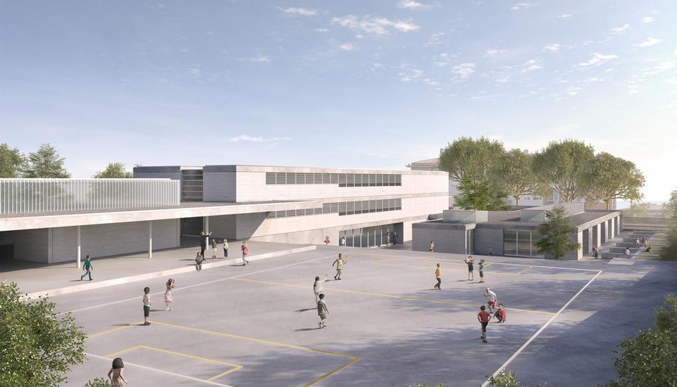 Detall de com serà i on estarà ubicat el gran pati exterior de l'escola.