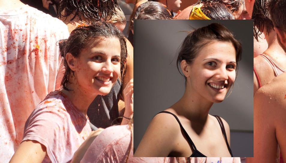 A l'esquerra la image de la desconeguda «noia de la Tomatina». A la dreta, Eva Casado.