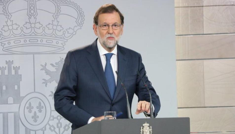 Rajoy, en roda de premsa després del Consell de Ministres extroardinari.