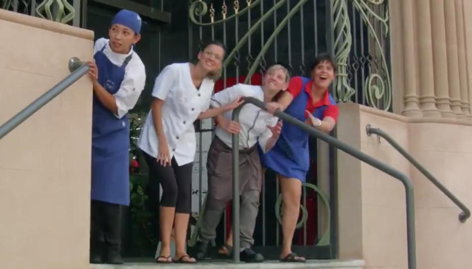 Quatre paradistes del Mercat en un fotograma del vídeo promocional.
