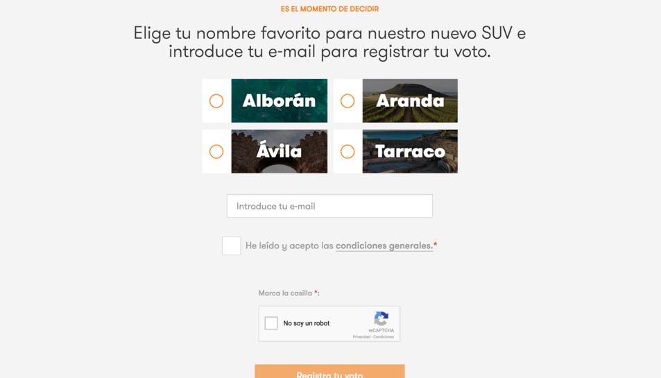 Pantalla de la pàgina de votació del nom del vehicle.