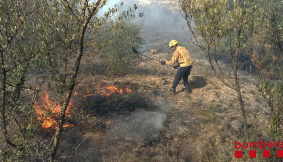 Un bomber apagant l'incendi, declarat a primera hora de la tarda.
