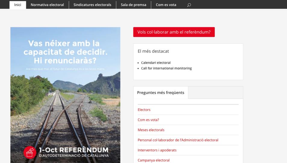 Captura de pantalla de la nova pàgina web del referèndum.