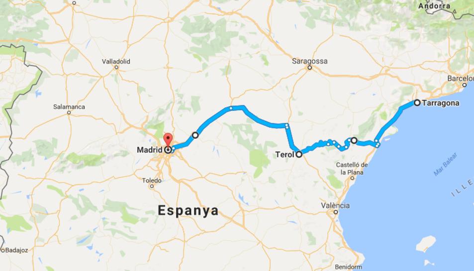 L'autovia seria una línia pràcticament recta entre el centre d'Espanya i la sortida al Mediterrani per Tarragona.