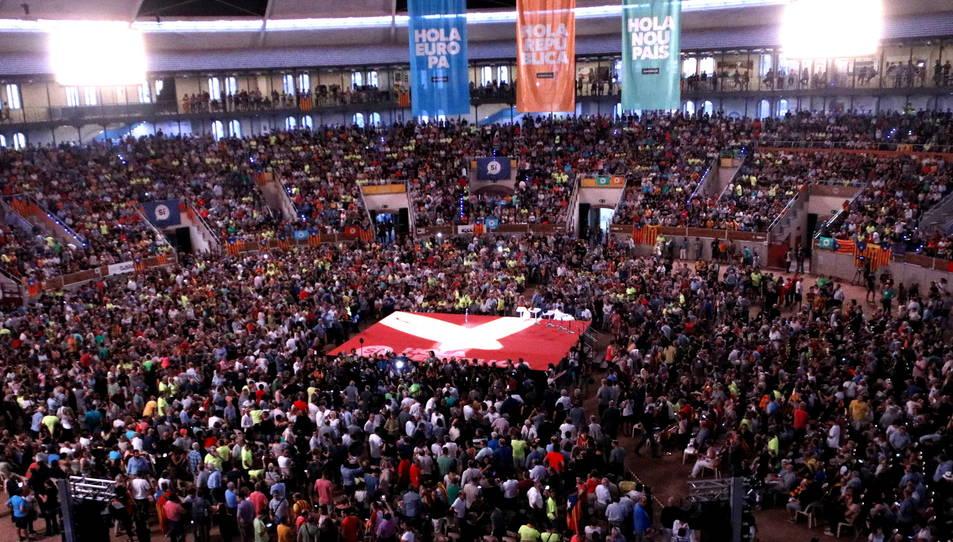 La Tàrraco Arena de Tarragona, plena a l'inici del primer acte unitari de la campanya del 'sí' al referèndum de l'1-O.