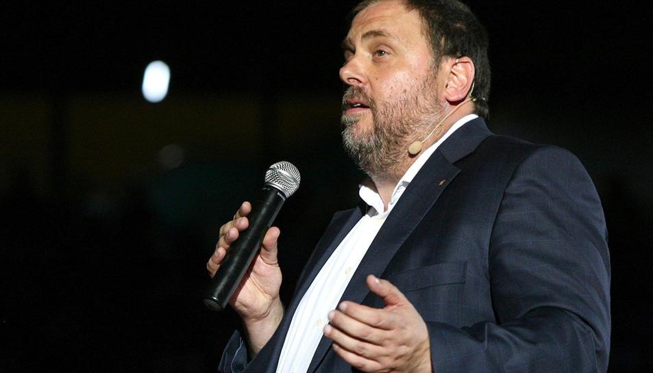 Oriol Junqueras durant l'acte unitari d'auest dijous a la TAp de Tarragona.