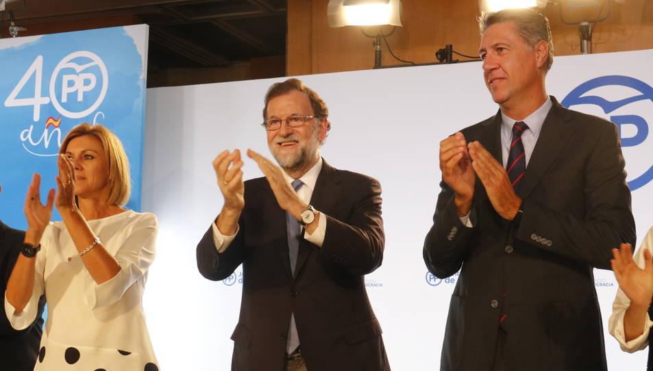Mariano Rajoy, María Dolores de Cospedal i Xavier García Albiol, a la Junta Directiva del partit a Catalunya, on Rajoy ha felicitat la Guàrdia Civil per l'actuació.