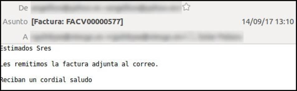 A l'assumpte del correu hi apareix la paraula Factura, a més d'altres possibles indicacions.
