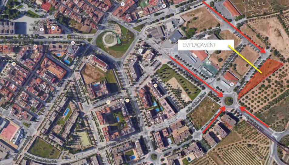 En aquest mapa s'indica el lloc en el qual s'ubicarà el parc caní.