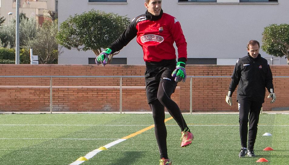 Imatge d'arxiu del porter Edgar Badia en un entrenament de la temporada 2016-2017, en què va ser el Zamora.