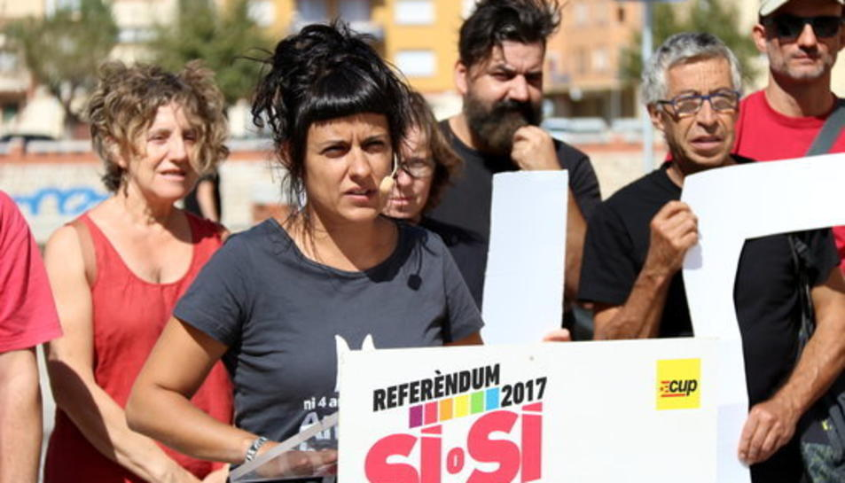 La portaveu parlamentària de la CUP, Anna Gabriel, a l'acte de partit de Tortosa.