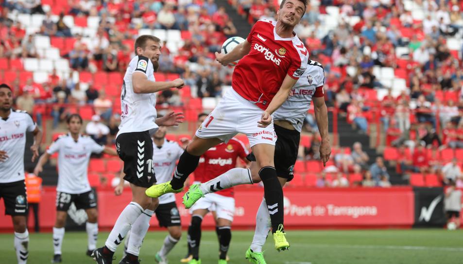 Manu Barreiro, durant el Nàstic-Albacete d'aquest diumenge al Nou Estadi.