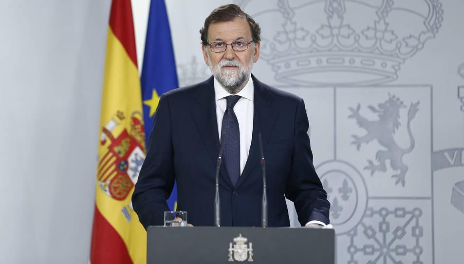 El president del govern espanyol, Mariano Rajoy, durant la compareixença d'aquesta nit.