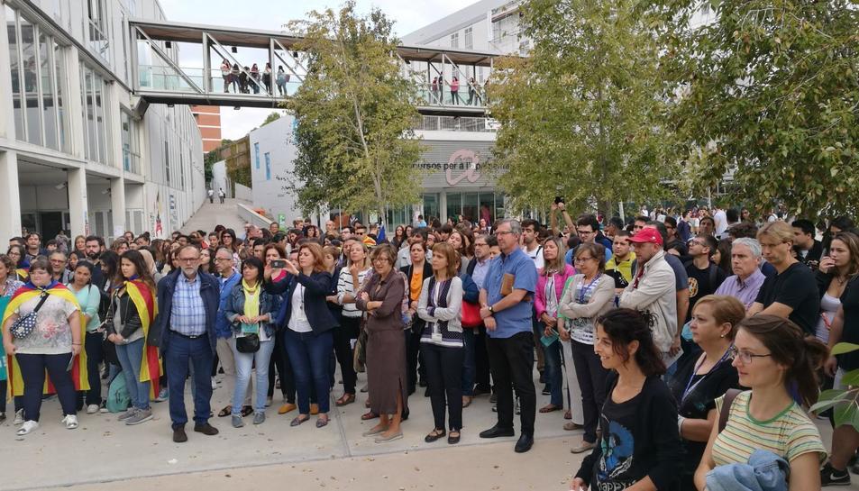 Imatge de la concentració realitzada aquest dijous, 21 de setembre, al Campus Catalunya.