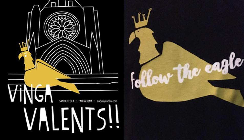 A l'esquerra, el disseny d'Anduluplandu. A la dreta, el dibuix de la samarreta.
