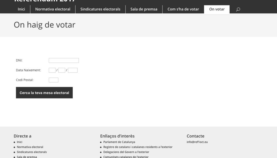 El lloc web té un aspecte idèntic a la pàgina oficial.